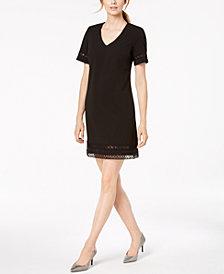 Calvin Klein Embroidered Cutout A-Line Dress