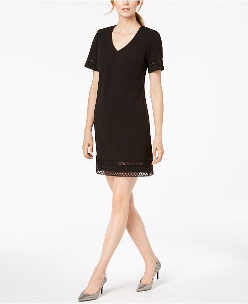 42a7e039848d Calvin Klein Embroidered Cutout A-Line Dress - Dresses - Women - Macy s