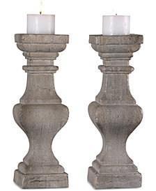 Uttermost Corin Stone Ivory Candle Holders, Set of 2