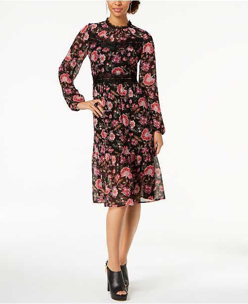 ec3fa69a29e1c ... Nine West Lace-Trim Floral Chiffon Midi Dress