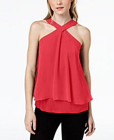 Bar III Flutter-Overlay Halter Top, Created for Macy's