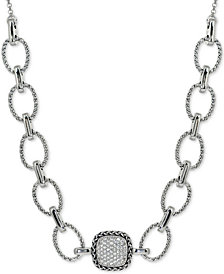 "Giani Bernini Cubic Zirconia Pavé 18"" Statement Necklace in Sterling Silver, Created for Macy's"