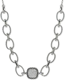 """Giani Bernini Cubic Zirconia Pavé 18"""" Statement Necklace in Sterling Silver, Created for Macy's"""