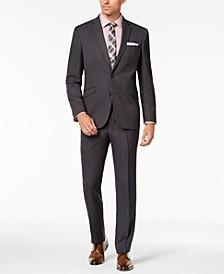 Men's Slim-Fit Ready Flex Stretch Black Pin-Dot Suit