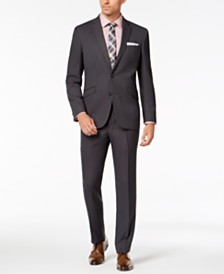 Kenneth Cole Reaction Men's Slim-Fit Techni-Cole Stretch Black Pin-Dot Suit