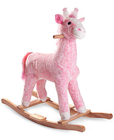 Trademark Global Happy Trails Penny the Pink Plush Rocking Giraffe