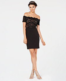 City Studios Juniors' Glitter-Lace Off-The-Shoulder Dress