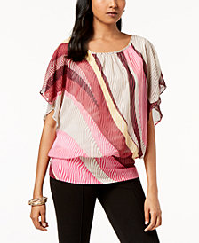 JM Collection Studded Flutter-Sleeve Top, Created for Macy's