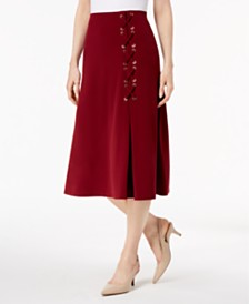JM Collection Lace-Up A-Line Skirt, Created for Macy's