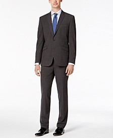 Men's Slim-Fit Ready Flex Stretch Charcoal Micro-Grid Big and Tall Suit