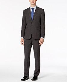 Kenneth Cole Reaction Men's Slim-Fit Techni-Cole Stretch Charcoal Micro-Grid Suit