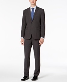 Kenneth Cole Reaction Men's Slim-Fit Techni-Cole Stretch Charcoal Micro-Grid Suit