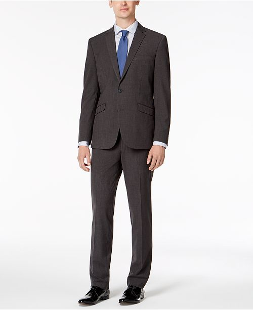 Kenneth Cole Reaction Men's Slim-Fit Ready Flex Stretch Charcoal Micro-Grid Big and Tall Suit
