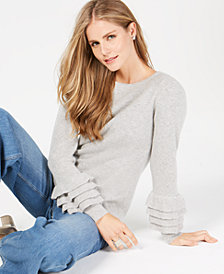Charter Club Ruffle-Sleeve Pure Cashmere Sweater, Created for Macy's