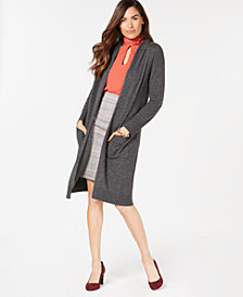 Charter Club Cashmere Open-Front Hooded Cardigan, Created for Macy's