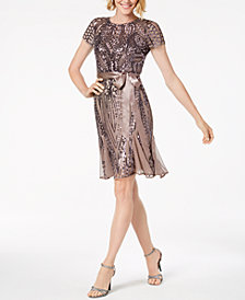 R & M Richards Petite Sash-Belt Sequined Dress
