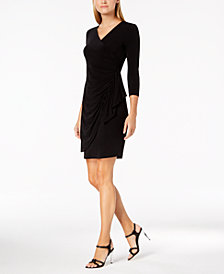 Calvin Klein Ruched Ruffled Faux-Wrap Dress