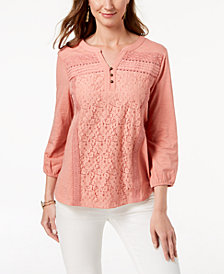 Style & Co Cotton Lace-Trim Top, Created for Macy's