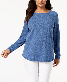 Karen Scott Petite Cotton Curved-Hem Sweater, Created for Macy's