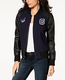 GUESS Faux-Leather-Sleeve Bomber Jacket