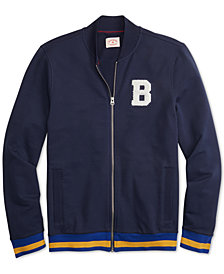 Brooks Brothers Men's Red Fleece Appliqué Full-Zip French Terry Track Jacket