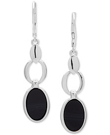 Nine West Silver-Tone & Stone Oval Double Drop Earrings