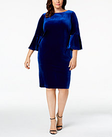 Calvin Klein Plus Size Velvet Bell-Sleeve Dress