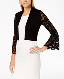 Calvin Klein Cropped Lace-Contrast Cardigan