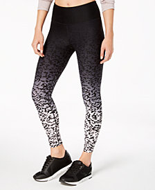 Calvin Klein Performance Ombré Lynx-Print High-Rise Cropped Leggings