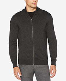 Perry Ellis Men's Zip-Front Textured Sweater