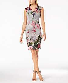 Calvin Klein Floral-Print V-Neck Sheath Dress