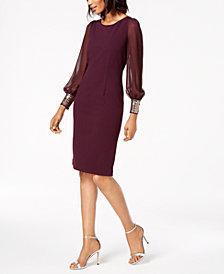 Calvin Klein Embellished-Cuff Sheath Dress
