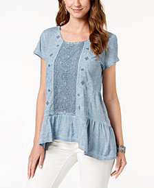 Style & Co Embellished Scoop-Neck Top, Created for Macy's