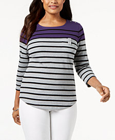 Karen Scott Striped Button-Shoulder Top, Created for Macy's