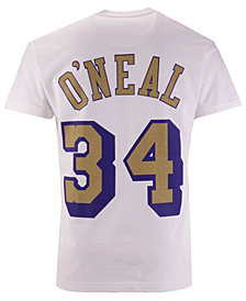 Mitchell & Ness Men's Shaquille O'Neal Los Angeles Lakers Gold Collection Name and Number T-Shirt
