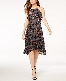 Avec Les Filles Ruffled Floral Flocked-Velvet Dress