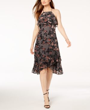 AVEC LES FILLES Ruffled Floral Flocked-Velvet Dress in Grey Multi