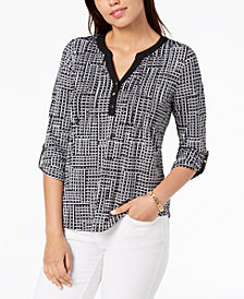NY Collection Petite Printed Pleated Henley Top