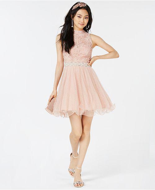 392e8b6987a City Studios Juniors  Embellished Glitter Lace   Tulle Dress ...