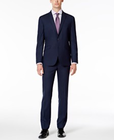 Kenneth Cole Reaction Men's Slim-Fit Ready Flex Stretch Medium Blue Plaid Suit