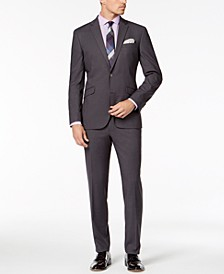 Men's Slim-Fit Ready Flex Stretch Medium Gray Solid Suit