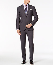 Kenneth Cole Reaction Men's Slim-Fit Techni-Cole Stretch Medium Gray Solid Suit