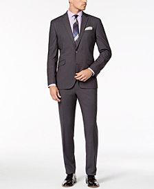 Kenneth Cole Reaction Men's Slim-Fit Techni-Cole Stretch Medium Gray Solid Suit