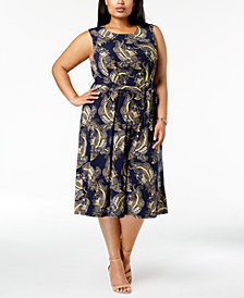 Charter Club Plus Size Paisley-Print Fit & Flare Midi Dress, Created for Macy's