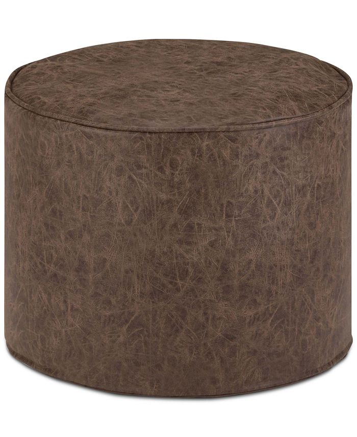 Simpli Home - Xyler Round Pouf, Quick Ship