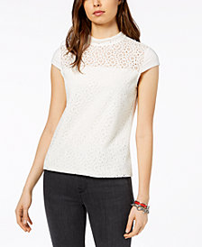Tommy Hilfiger Lace-Inset Top, Created for Macy's