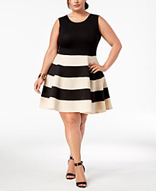 City Studios Trendy Plus Size Striped A-Line Dress