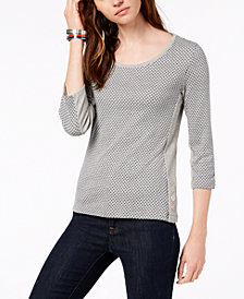 Tommy Hilfiger Cotton Dot-Print Top, Created for Macy's