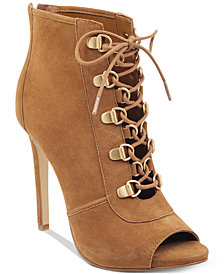 GUESS Women's Alysa Peep Toe Booties