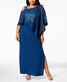 R & M Richards Plus Size Sequined-Lace Capelet Dress